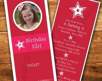 Doll Box Rack Card Birthday Party Invitation- Digital