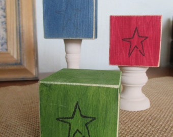Set of 3 - Wooden country star shelf fillers
