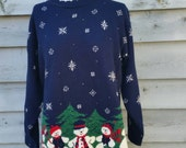 Oversized Blue Holiday Snowman Ugly Christmas Sweater Size Small