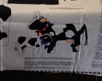 Fabric Panel to Sew Soft Sculpture Toy Country Cows
