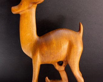 Teak deer and fawn Handcarved Sculpture 50's 60's