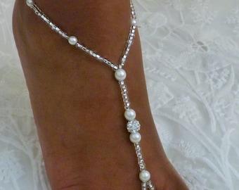 1 PAIR Crystal Barefoot Sandals Bridal Jewelry Rhinestone Wedding Shoe Destination Wedding