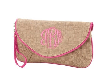 Monogrammed Burlap Clutch available in Mint, Pink, Navy or Black!