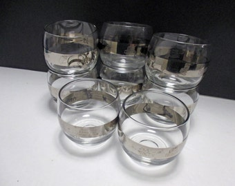 Silver Band Vintage Mini Roly Poly Mad Men Printer Typesetting Icon Glasses - Set of 4 (2 Sets Available)