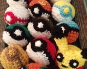 Pokemon balls plush handmade crocheted poke ball
