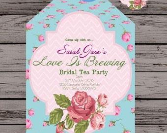 "PRINTABLE TEABAG INVITATIONS - A Rosy Romance Duck Egg Blue "" - Customize Print High Tea Bridal Tea Baby Shower Invitations"