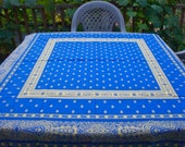 JacquardTeflon cotton square tablecloth blue background