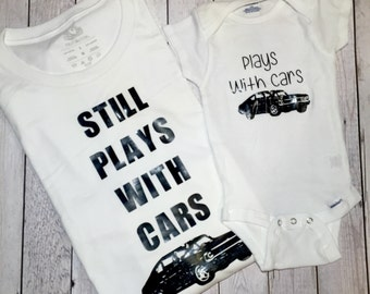 Fathers day shirt- dad and baby matching shirts- custom vinyl dad tee- i play with cars- custom vinyl baby bodysuit -custom fathers day gift
