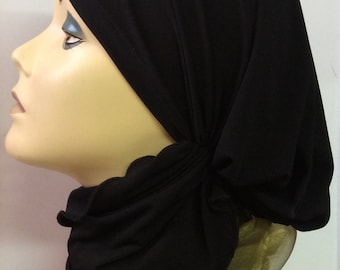 Hijab Hair Wrap Black Lycra Pretied Slip on Scarf comfortable with extra long adjustable ties