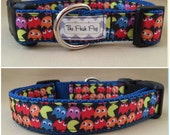 "Handmade Mini Pacman 1"" Adjustable Dog Collar - LARGE"