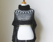 Black Bohemian Poncho Crochet Knit  Fall Winter Fashion Turtleneck Feminine Capelet Boho Chic