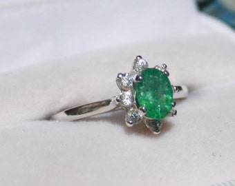 Emerald and Zircon Ring Natural Genuine Gemstones Sterling Silver Oval Solitaire with Round Accents Size 7