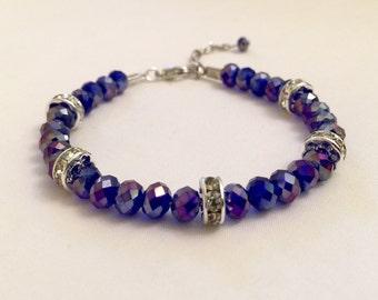 Blue Crystal Bracelet, Rhinestone Blue Bracelet, Blue Jewelry, Wedding Jewelry, Bridesmaid Jewelry, Crystal Beaded , Valentines Day Gifts,
