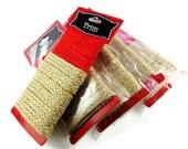 Trim, Jute Embellishment, Red Twine Natural Braided Ribbon, Rustic Craft Supply