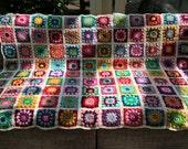 Crochet blanket, colourful crochet blanket, crochet granny square blanket