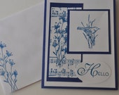 Hand stamped card, songbird and music, choose your greeting