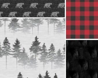 Woodland Bear Crib Bedding,crib skirt boy, teething guard, crib rail guard, plaid, trees,blanket pin,red,black, gray