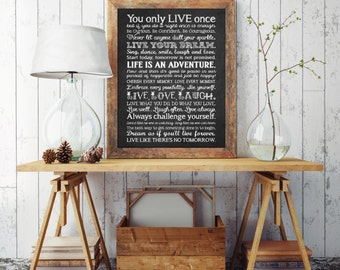 Inspirational Quote - Instant Download - Printable Art - Printable Quote - A4 - Life Rules Print - Wall Art Printable - Wall Art Print