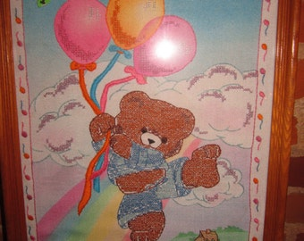 Teddy Bear and Balloons Nursery Picture