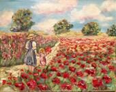 KADLIC Original Oil Painting French Poppies Mother Child Girl Impasto Landscape Folk Art 24x20