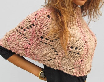 Hand Knit Capelet Winter Wrap Knit Fashion  Accessories for Woman. Wrapping capelet Arm free