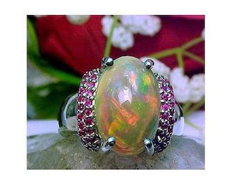 Ethopian Opal Sterling Silver Ring Raspberry Garnets Size 6.5  Large Opal 13x9.6
