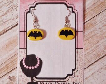 Clay Batman Inspired Dangle Earrings