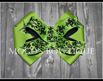 Lime & Black Swirly Ribbon Bow