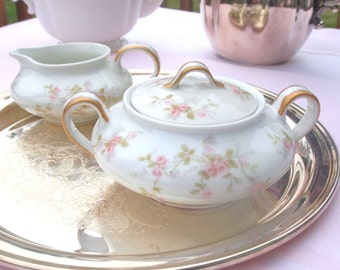 Limoges China Creamer and Sugar Set |  Pink Roses Shabby Chic | Theodore Haviland Limoges for Lipman Wolfe, Portland Ore.