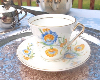 Vintage China Teacup and Saucer Set English Fine China 1940's Victoria C&E Cartwright and Edwards Blue Yellow Floral | Tea Party Bridal Gift