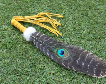 Smudging Feather.Barred Turkey with Peacock Eye Feather. Smudge Feather / Wand