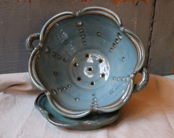 Berry Bowl, Blue, Green, Colander, Wedding Gift, In Stock, Ready to Ship