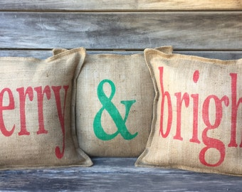 Merry & Bright Burlap Pillow Covers, burlap pillows, holiday pillows, christmas, christmas pillows, front porch pillows, entryway pillows