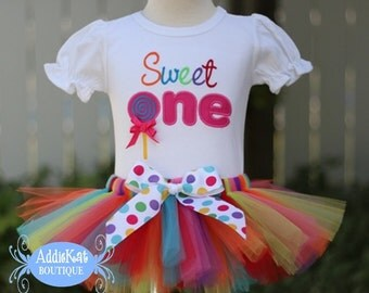 Personalized Rainbow Lollipop Sweet One First Birthday Tutu Outfit