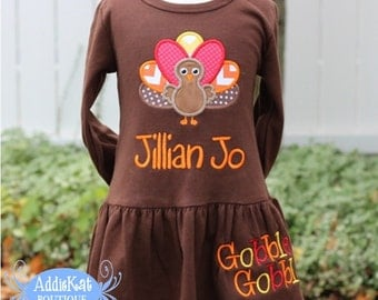 Personalized Thanksgiving Turkey Boutique Dress
