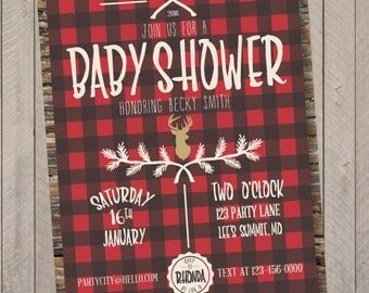 Little Lumberjack Baby Shower or Birthday Party Invitation, Lumberjack Invite, Baby Shower Party Invitation- PDF File
