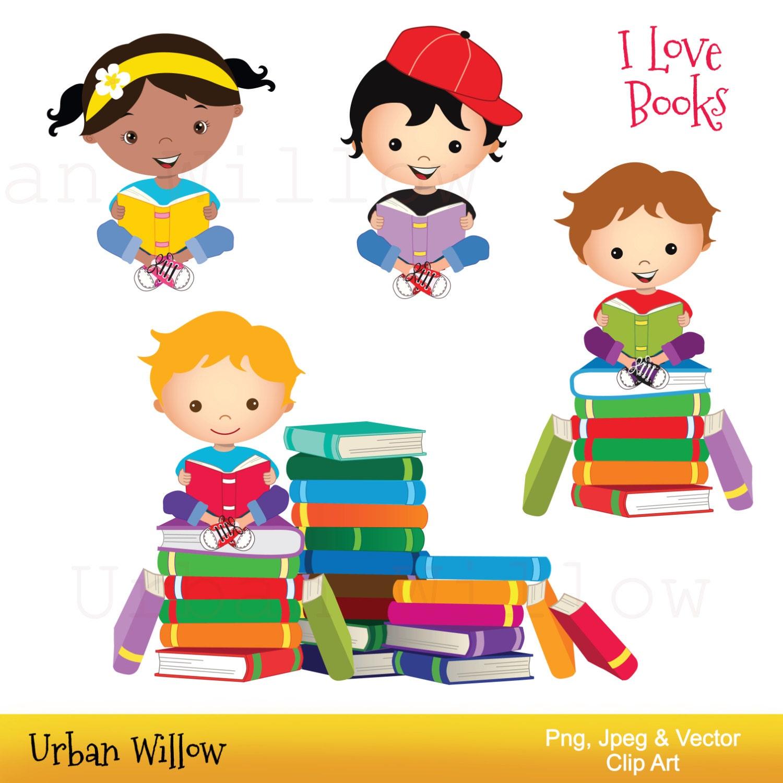 Clip art kids reading books Graphics school kid Cute