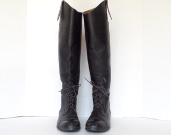 Vintage Black Leather Equestrian Boots/ Riding Boots/ Women's Size 5.5