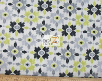 100% Cotton Fabric By Benartex Fabrics - Cosmopolitan Artistic Flowers Green/Black - Sold By The Yard (FH-2088)