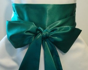"EMERALD GREEN Bridal Sash Satin Sash Choose your length from 90"" up to 100"""