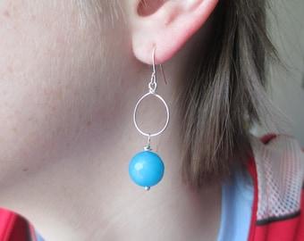 Turquoise Blue Earrings Silver Hoop Earrings Summer Blue Stone Earrings Southwest Earrings Dangle Earrings