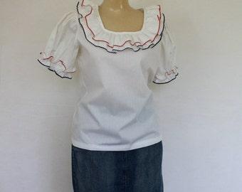 Sale Ruffle Blouse / Vintage Blouse / 1970's Blouse / Patriotic Blouse / 1970's Blouse / Boho Blouse  M/L