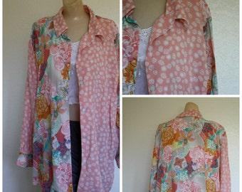 Vintage 80's Silk Blouse / Vtg Oversized Blouse /  1980s Floral Silk Blouse / Koos of Course Blouse / Womens Vtg Silk Blouse XL