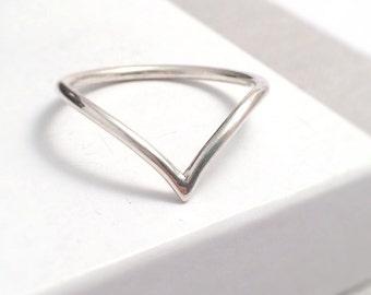 Sterling Silver Chevron Ring | Wishbone Ring | Chevron Midi Ring | Silver Stacking Ring | Jewellery UK