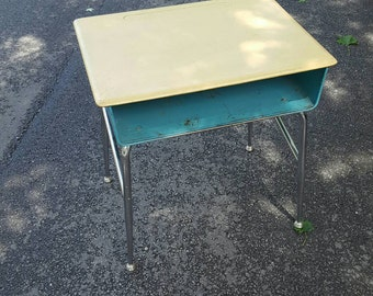 Vintage Heywood Wakefield metal children school desk turquoise compartment