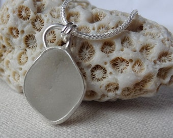 Clear Sea Glass Pendant - Natural Sea Glass, Genuine Sea Glass - Sea Glass Necklace, Sea Glass Jewelry