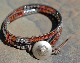 Tangerine and Silver Beaded Leather Double Wrap Bracelet - Metal Flower Button- Beaded Wrap Leather Wrap