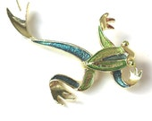 Vintage GERRY'S Frog Brooch, 1970s Estate, Signed Gold-Tone Painted Frog Figural Brooch Pin Mid-Century Modern
