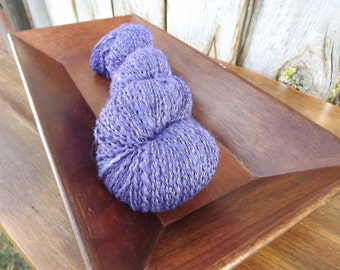 Purple Haze - Handspun - Yarn Art - Alpaca, Merino And Bamboo - Bulky Weight - 2 Ply - Plied with White Thread - 298 Yards - 4.20 oz