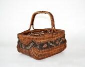 Vintage Victorian Painted Market Basket ~ Hand Basket